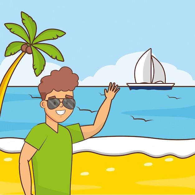 Uomo in vacanza al mare Vettore gratuito