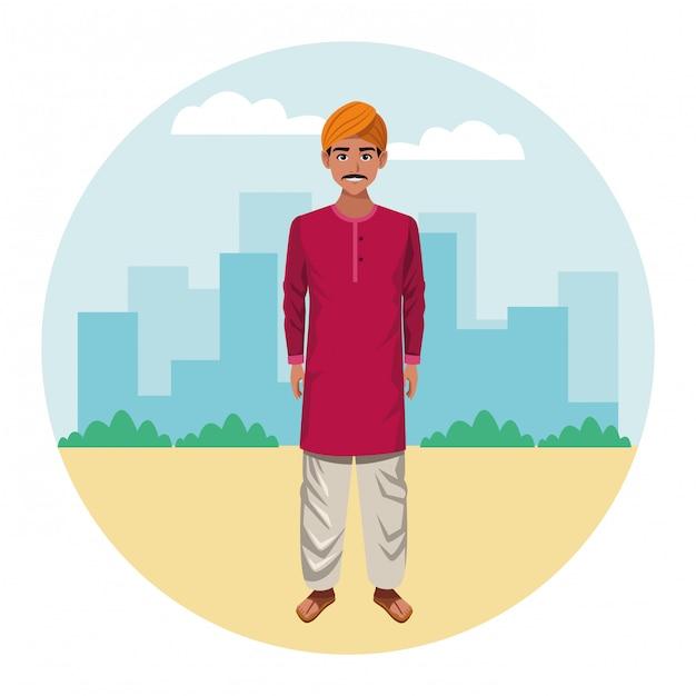Uomo indiano che indossa abiti tradizionali indù Vettore Premium