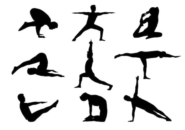 Uomo isolato della siluetta nella posizione di yoga Vettore Premium