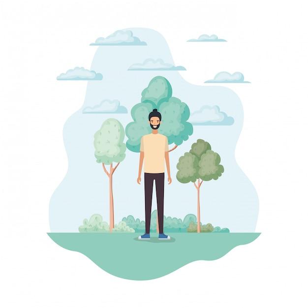 Uomo isolato nel parco Vettore gratuito