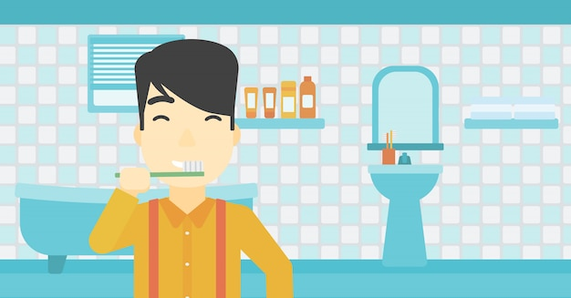 Uomo, lavarsi i denti Vettore Premium