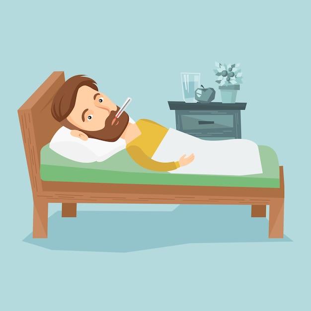 Uomo malato con termometro sdraiato nel letto. Vettore Premium