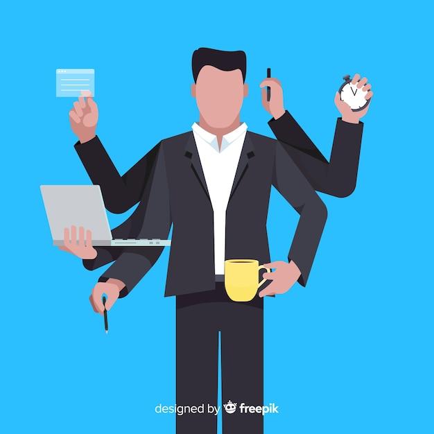 Uomo multitasking Vettore gratuito