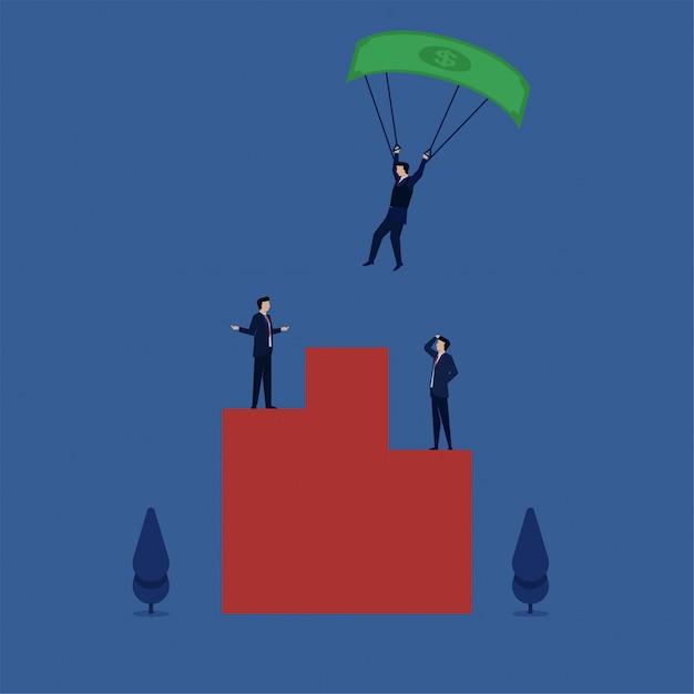 Uomo paracadutismo con dollaro sul podio Vettore Premium
