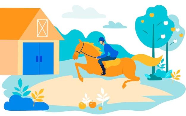 Uomo rider rides horse sul fondo del giardino. vettore Vettore Premium