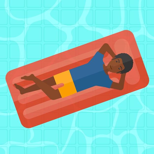 Uomo rilassante in piscina. Vettore Premium