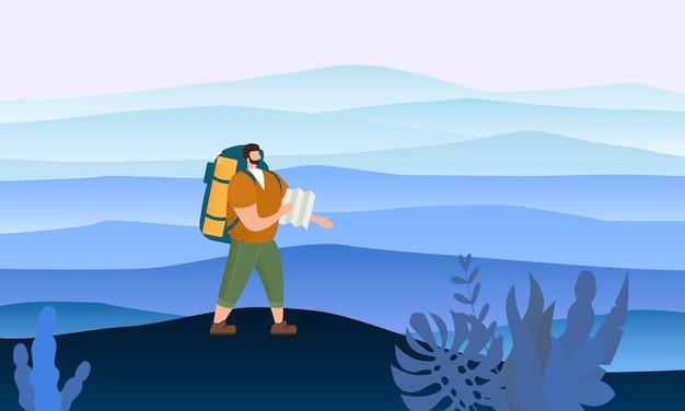 Uomo turistico con la mappa e lo zaino che svolgono attività turistica all'aperto Vettore Premium