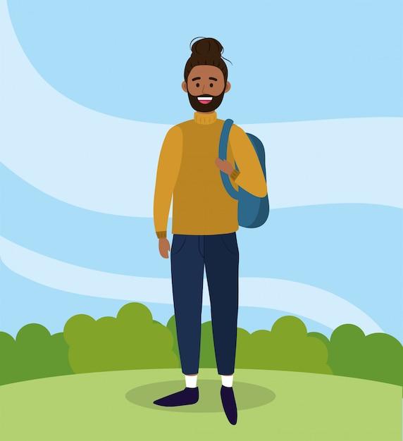check out 948b0 dae00 Uomo universitario con zaino e abbigliamento casual ...