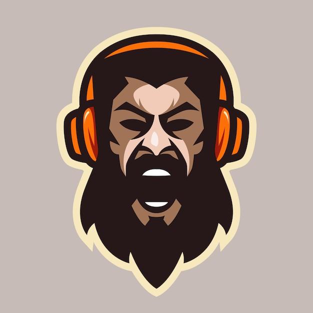 Uomo urlo arrabbiato con barba e cuffie Vettore Premium