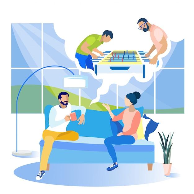 Uomo vicino a donna e sogni giocando a calcio balilla. Vettore Premium