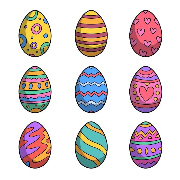 Uova colorate di felice giorno di pasqua disegnate a mano Vettore gratuito