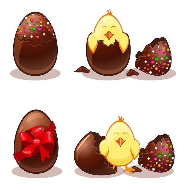 Uova di cioccolato di pasqua e chik Vettore Premium