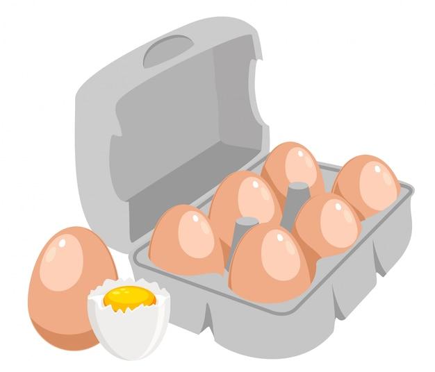 Uova di gallina uova di brown nell'illustrazione della scatola di carta. uovo liquido fresco in mezzo guscio. Vettore Premium
