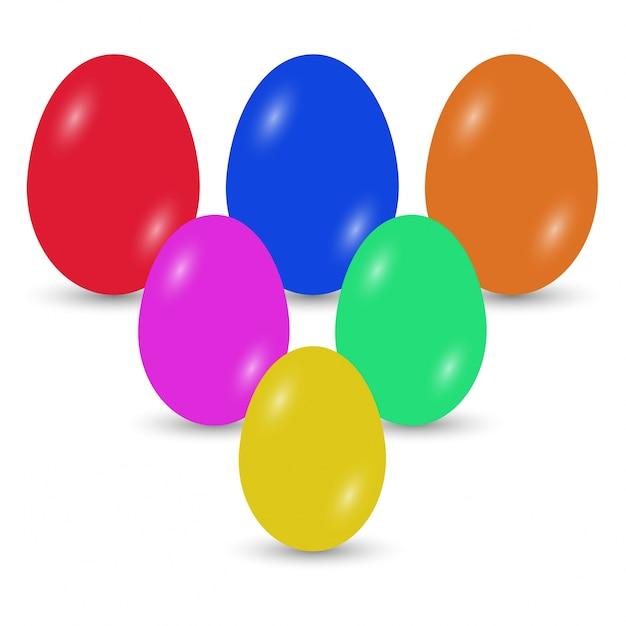 Uova di Pasqua icone Vector illustration Uova di Pasqua per le vacanze di Pasqua di progettazione su sfondo bianco Vettore gratuito