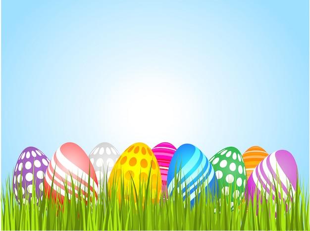 Uova di pasqua in erba Vettore gratuito