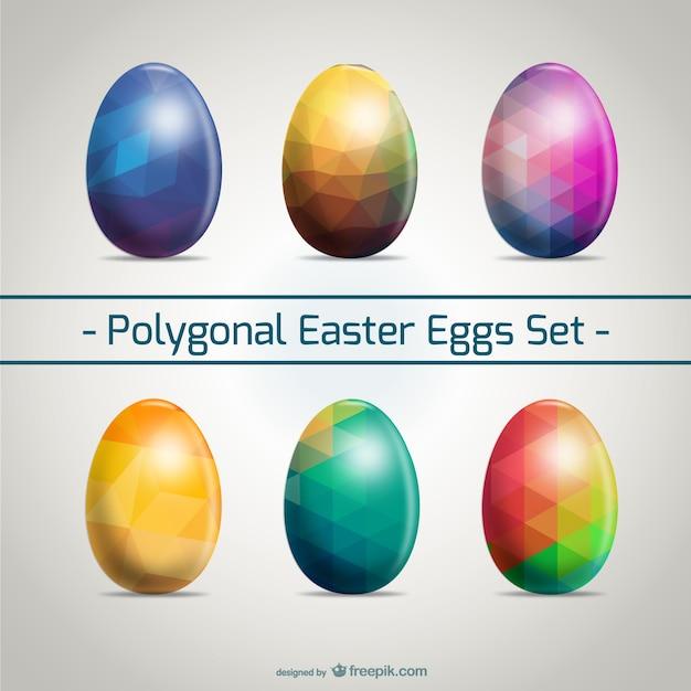 Uova di pasqua set design poligonale Vettore gratuito