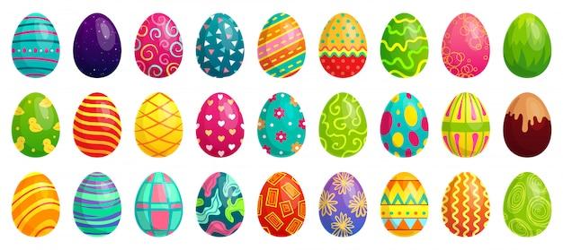 Uova di pasqua, uovo di cioccolato colorato di primavera, modelli colorati carini e felice fumetto decorazione di pasqua Vettore Premium