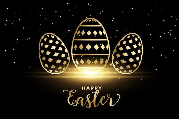 Uova dorate del modello per il festival felice di pasqua Vettore gratuito