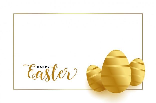 Uova dorate felici di pasqua con lo spazio del testo Vettore gratuito