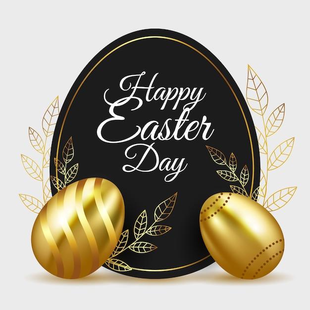 Uova e foglie dorate di giorno felice di pasqua Vettore gratuito