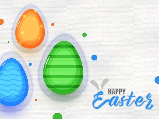 Uovo colorato lucido su sfondo texture di carta per buona pasqua Vettore Premium