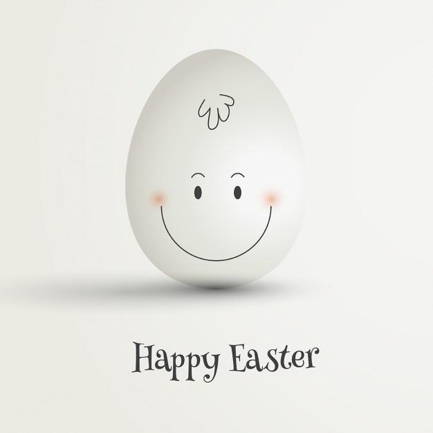 Uovo di pasqua con disegnata a mano faccia felice Vettore gratuito
