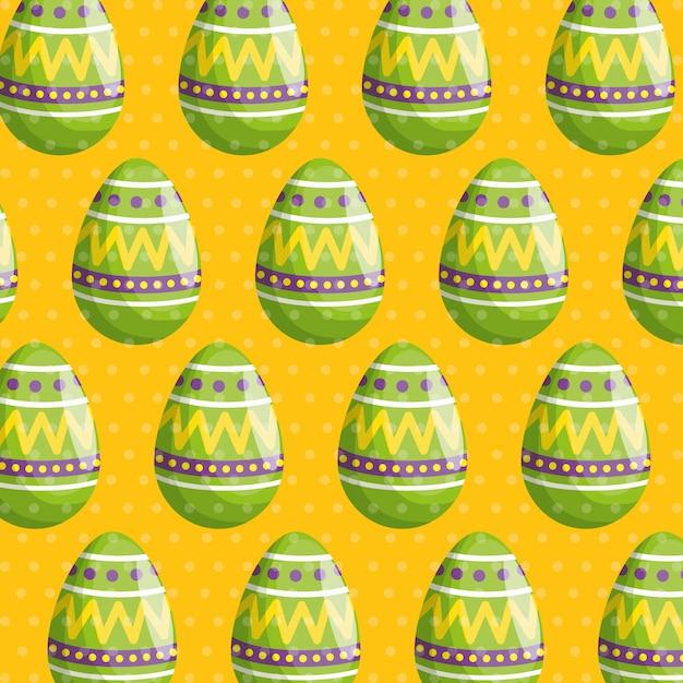 Uovo di pasqua con figure motivo decorativo Vettore gratuito