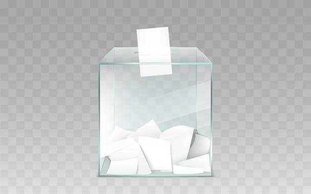 Urna di vetro con il vettore delle schede elettorali Vettore gratuito