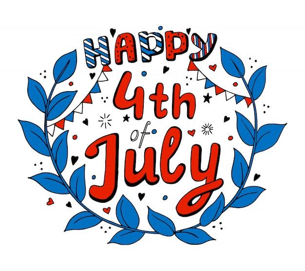 Usa, 4 luglio, giorno dell'indipendenza. isolato Vettore Premium