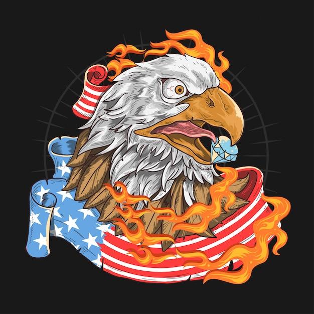 Usa flag eagle fire Vettore Premium