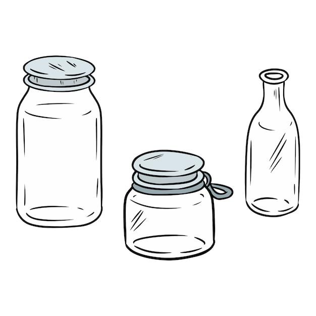 Usa meno barattoli colorati di plastica. bottiglie ecologiche e senza scarti doodle immagine. diventa verde Vettore Premium
