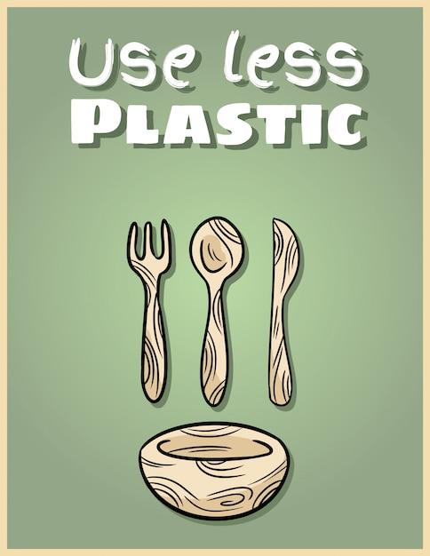 Usa meno poster di stoviglie di bambù. frase motivazionale prodotto ecologico e privo di rifiuti. diventa verde vivente Vettore Premium