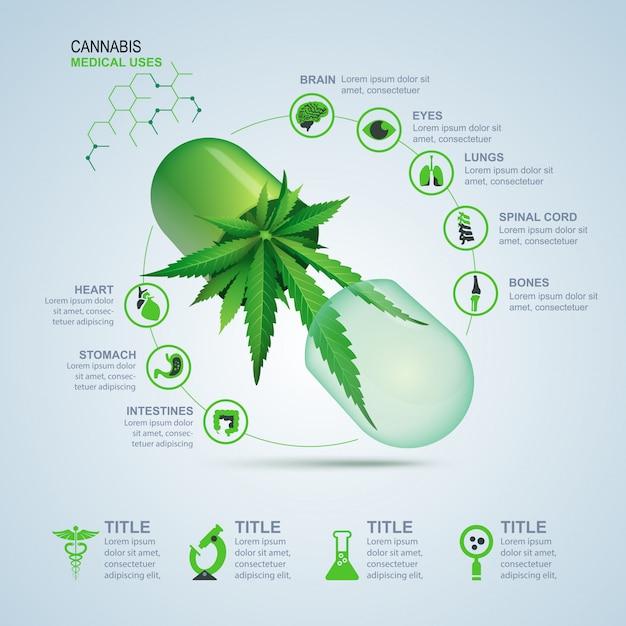 Usi medici della cannabis per infografica Vettore Premium