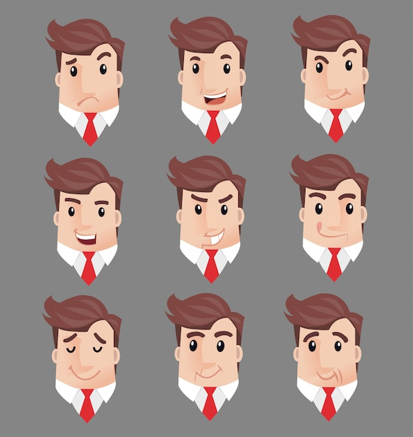 Usinessman many faces emozioni personaggi Vettore Premium