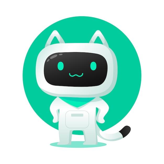 Uso di carattere di assistenza robot ai robot gatto carino per le illustrazioni Vettore Premium