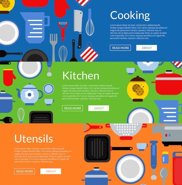 Utensili da cucina di stile piano banner web orizzontale e illustrazione di poster Vettore Premium