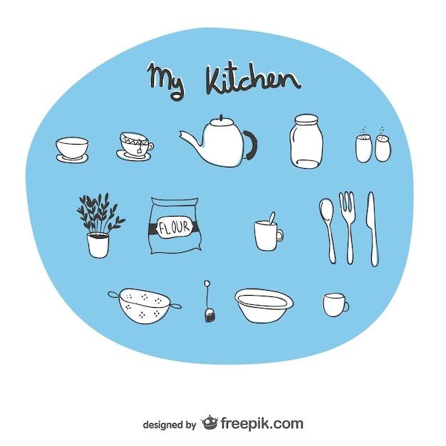 Utensili da cucina disegni abbozzati | Scaricare vettori gratis