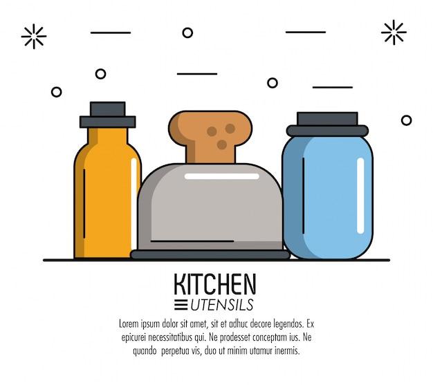 Utensili della cucina infographic sopra l\'illustrazione bianca di ...