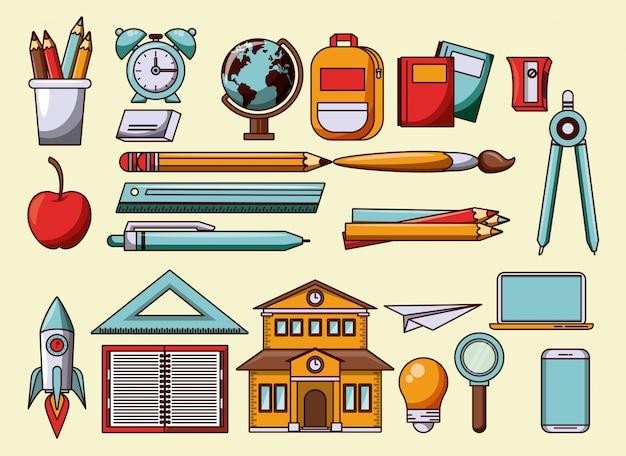 Utensili di scuola e simboli di cartoni animati Vettore gratuito