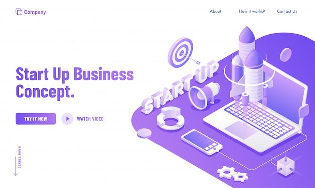 Utente online che avvia il proprio progetto tramite l'app di servizio per laptop e smartphone per la progettazione di siti web di concetti start up business. Vettore Premium