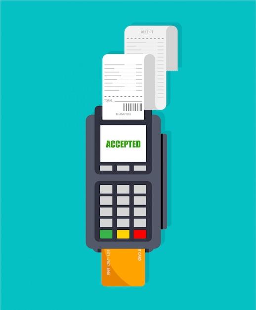 Utilizzo del terminale pos. slot macchina con ricevuta. pagamento accettato con carta di credito e pin inserito. isolato. Vettore Premium