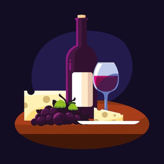 Uva e tazza del formaggio della bottiglia di vino Vettore Premium