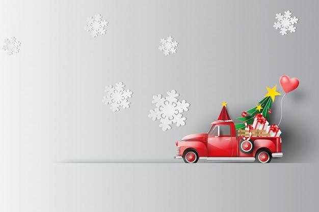 Vacanza con auto rossa classica pick-up Vettore Premium
