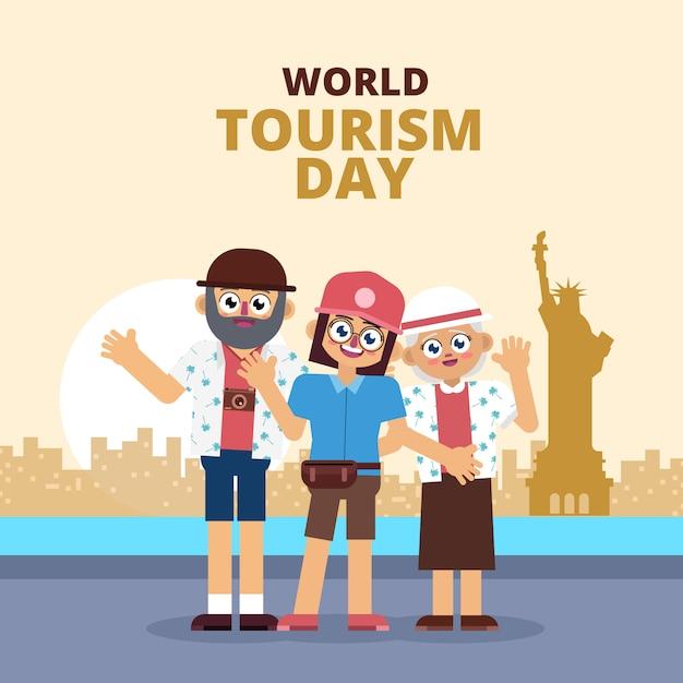 Vacanza in famiglia nella giornata mondiale del turismo Vettore Premium