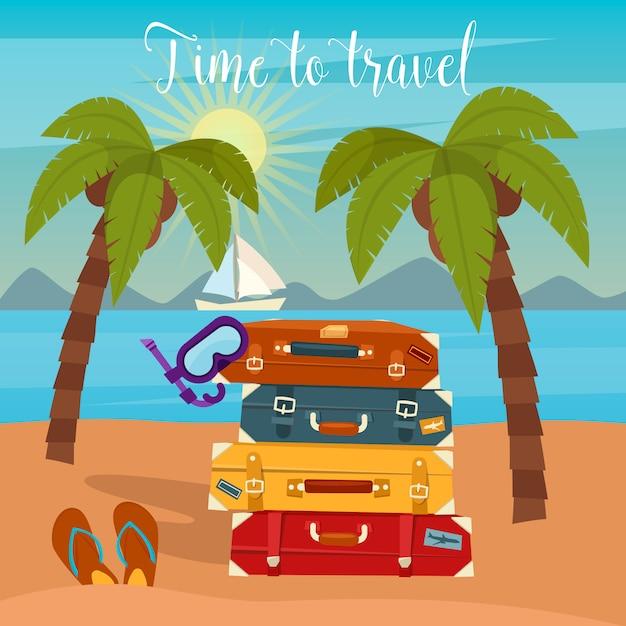 Vacanza tropicale. bagaglio da viaggio. vacanza al mare. Vettore Premium