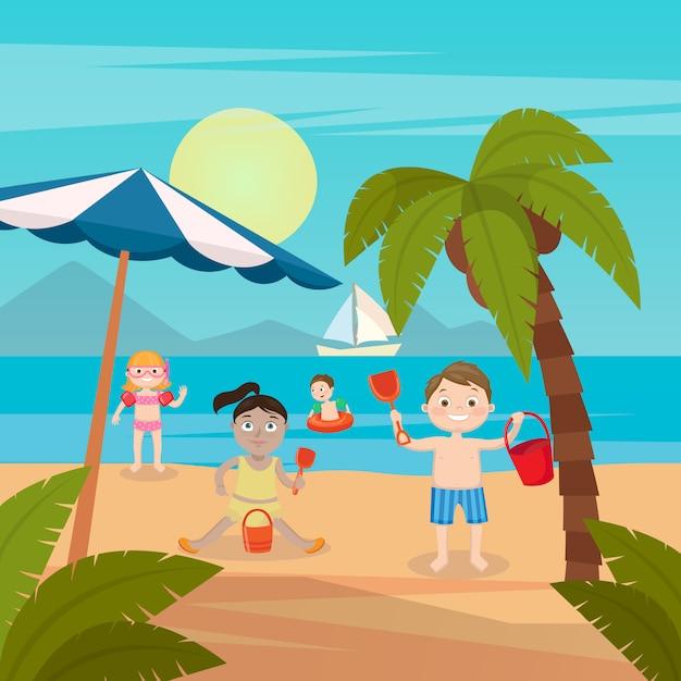 Vacanze al mare per bambini. ragazze e ragazzi che giocano e nuotano sulla spiaggia. illustrazione vettoriale Vettore Premium