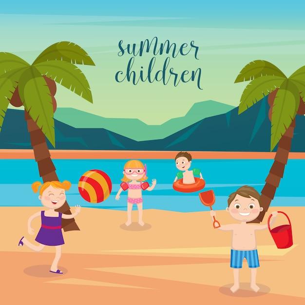 Vacanze al mare per bambini. ragazze e ragazzi che giocano sulla spiaggia. illustrazione vettoriale Vettore Premium