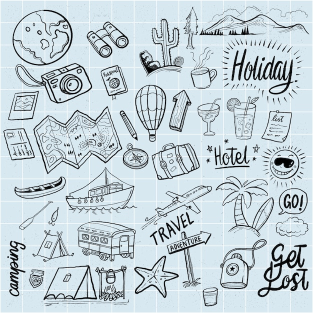 Vacanze disegnate a mano doodles elementi Vettore Premium