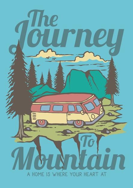 Vacanze estive con il viaggio della carovana alla retro illustrazione della foresta dei pini e della montagna Vettore Premium
