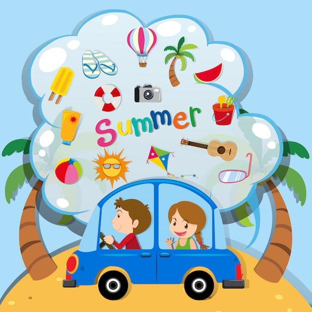 Vacanze estive con persone che guidano in auto Vettore gratuito